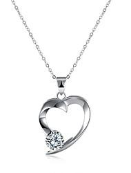 abordables -Femme Cœur Zircon S925 argent sterling Pendentif de collier  -  Mode Argent 45+5cm Colliers Tendance Pour Cadeau Quotidien