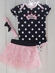 billige -Spædbarn Pige Prikker Kortærmet Tøjsæt