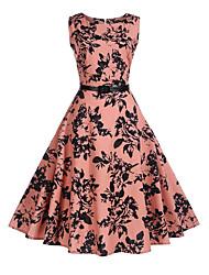 baratos -Mulheres Feriado Vintage Evasê Vestido - Estampado, Árvores / Folhas Altura dos Joelhos / Verão / Padrões florais