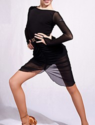cheap -Latin Dance Dresses Girls' Performance Spandex Chinlon Ruching Long Sleeves Dress
