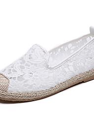 Недорогие -Жен. Обувь Тюль Весна лето Эспадрильи На плокой подошве На плоской подошве Круглый носок Белый / Черный