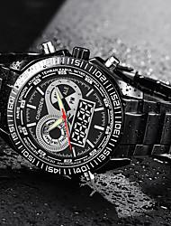 baratos -Homens Relógio de Moda Japanês Alarme / Calendário / Noctilucente Aço Inoxidável Banda Luxo Preta / Prata / Mostrador Grande / SSUO SR626SW
