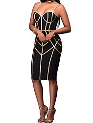 abordables -Femme Vacances Courte Robe - Mosaïque, Couleur Pleine A Bretelles Sans Bretelles Epaules Dénudées Mi-long