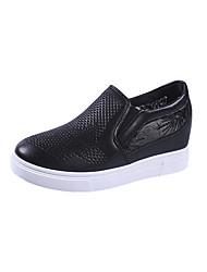 abordables -Femme Chaussures Polyuréthane Printemps Confort Mocassins et Chaussons+D6148 Talon haut Appliques Blanc / Noir