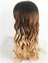 Недорогие -Необработанные Лента спереди Парик Бразильские волосы / Естественные кудри Волнистый Блондинка Парик Стрижка каскад 130% С детскими волосами / Природные волосы Блондинка Жен.