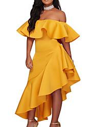 Недорогие -Жен. Очаровательный Уличный стиль Облегающий силуэт Оболочка Платье - Однотонный Ассиметричное
