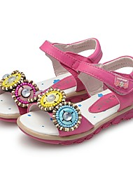 cheap -Girls' Shoes Leatherette Summer First Walkers Sandals Beading for Baby / Toddler White / Fuchsia