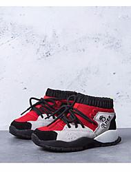 baratos -Para Meninas Para Meninos sapatos Pele Outono Inverno Curta / Ankle Botas Botas Curtas / Ankle para Casual Preto Vermelho