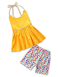 cheap -Kids Toddler Girls' Solid Colored Print Sleeveless Clothing Set