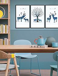 baratos -Estampado Laminado Impressão De Canvas - Abstrato Animais Modern