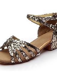 preiswerte -Damen Schuhe für den lateinamerikanischen Tanz Glitzer Sandalen Glitter Maßgefertigter Absatz Maßfertigung Tanzschuhe Schwarz / Silber /
