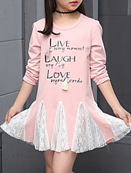 preiswerte -Mädchen T-Shirt Alltag Baumwolle Polyester Frühling Langarm Grau Rosa