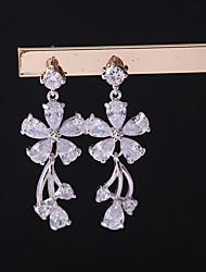 cheap -Women's Cubic Zirconia Drop Earrings / Clip Earrings - Leaf Korean Silver For Wedding / Evening Party