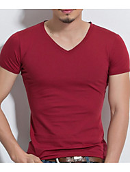 cheap Weekly Deals-Men's Basic T-shirt - Solid Colored V Neck / Short Sleeve