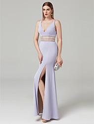 baratos -Tubinho Decote V Longo Microfibra Jersey Baile de Formatura / Evento Formal Vestido com Detalhes em Cristal Fenda Frontal de TS Couture®