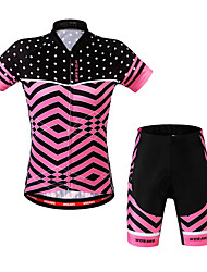 cheap -WOSAWE Short Sleeves Cycling Jersey with Shorts - Fuchsia Bike