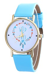 cheap -Women's Fashion Watch Quartz Large Dial PU Band Analog Casual Minimalist Black / White / Blue - Fuchsia Brown Blue One Year Battery Life