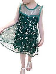 cheap -Girl's Daily Print Jacquard Dress, Polyester Spring Summer Sleeveless Cute Green Blushing Pink Beige