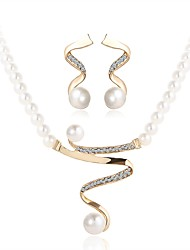 cheap -Women's Jewelry Set - Imitation Pearl Wave Simple Include Gold For Ceremony / Festival / Earrings