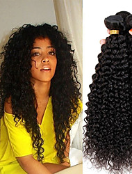 cheap -Peruvian Hair Kinky Curly Virgin Human Hair Natural Color Hair Weaves / Extension / One Pack Solution 4 Bundles 8-28 inch Human Hair Weaves Cute / Soft / Hot Sale Natural Black Human Hair Extensions