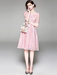 baratos -Mulheres Sofisticado Moda de Rua Evasê balanço Vestido - Bordado, Sólido Altura dos Joelhos
