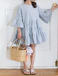 preiswerte -Mädchen Kleid Normal Ausgehen Kleid Festtage Solide Gestreift Baumwolle 3/4 Ärmel Blumig Blau