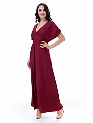 cheap -TS - Sweet Curve Women's Basic Slim Tunic Dress - Solid Colored Maxi V Neck