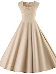 baratos -Mulheres Tamanhos Grandes Feriado Evasê Vestido Sólido Decote Quadrado Altura dos Joelhos