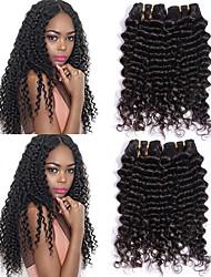baratos -Cabelo Brasileiro Ondulado Extensões de Cabelo Natural Tramas de cabelo humano extensão / Venda imperdível Preto Natural Todos