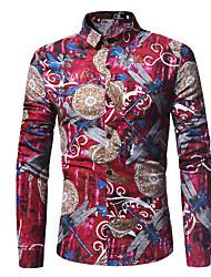 Недорогие -Муж. Рубашка Классический / Элегантный стиль Однотонный / Цветочный принт Синий