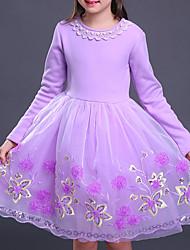 cheap -Girl's Color Block Dress, Cotton Rayon Winter Fall Long Sleeves Active Princess Red Blushing Pink Purple