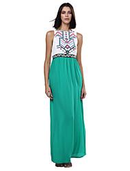 abordables -Femme Sortie Vacances Bohème Mince Mousseline de Soie Robe - Imprimé, Géométrique Couleur Pleine Taille haute Maxi