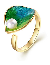 cheap -Women's Pearl Pearl / S925 Sterling Silver / 18K Gold Plated Leaf Cuff Ring - European Green Ring For Gift / Night out&Special occasion