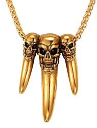 preiswerte -Herrn Damen Totenkopf Edelstahl Anhängerketten  -  Modisch Gold Silber 55cm Modische Halsketten Für Alltag