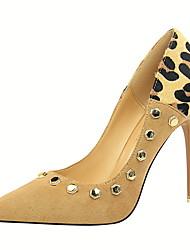 preiswerte -Damen Schuhe PU Samt Sommer Herbst Pumps Komfort High Heels Stöckelabsatz Geschlossene Spitze Spitze Zehe Niete Tierdruck für Büro &