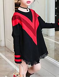 preiswerte -Mädchen T-Shirt Gestreift Baumwolle Elasthan Frühling Herbst Schwarz Rote