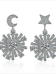 cheap -Women's Cubic Zirconia Stud Earrings / Hoop Earrings - Sterling Silver, Zircon, Gold Plated Moon, Star, Snowflake European, Korean, Fashion Silver For Wedding / Daily