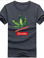 cheap -Men's Basic Cotton / Polyester T-shirt - Floral Round Neck / Short Sleeve