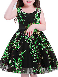 cheap -Girl's Holiday Floral Dress, Polyester Sleeveless Cute Princess Green Red