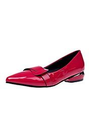 abordables -Femme Chaussures Gomme Printemps Confort Ballerines Talon Plat Bout pointu pour De plein air Noir Jaune Rouge