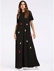baratos -Mulheres Básico Boho Reto Abaya Vestido - Franjas, Sólido Longo