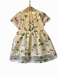 cheap -Girl's Daily Floral Dress, Rayon Polyester Summer Short Sleeves Basic Blushing Pink Yellow