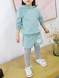 cheap -Girls' Daily Sports Solid Cartoon Clothing Set, Cotton Spandex Spring Fall Long Sleeves Cute Casual Active Blushing Pink Light Blue