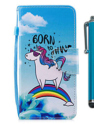 Недорогие -Кейс для Назначение Huawei P9 lite mini P smart Бумажник для карт Кошелек со стендом Флип Магнитный Чехол единорогом Твердый Кожа PU для