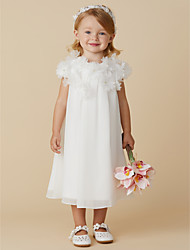 cheap -Sheath / Column Tea Length Flower Girl Dress - Chiffon Short Sleeves Jewel Neck with Flower by LAN TING BRIDE®