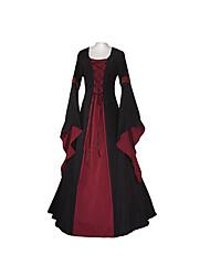 abordables -Cosplay Epoque Médiévale Costume Femme Robes Bleu Rouge + noir. Vert/Noir Bleu Encre Vert foncé Vintage Cosplay Polyester Manches Longues