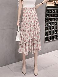 abordables -Mujer Chic de Calle Línea A Faldas Floral