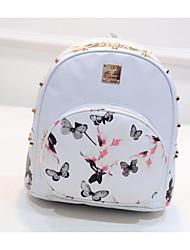 preiswerte -Damen Taschen PU Rucksack Muster / Druck für Draussen Weiß / Schwarz / Fuchsia