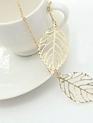 Недорогие -Ожерелья с подвесками - В форме листа Простой, Классика, Мода Золотой, Серебряный 50 cm Ожерелье Бижутерия Назначение Повседневные