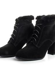 baratos -Mulheres Sapatos Pele Nobuck Outono Inverno Curta / Ankle Botas Salto Robusto Botas Curtas / Ankle para Casual Preto Castanho Claro